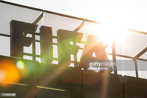 FIFA logo sits on the rooftop at the FIFA headquarters on June 3 2015 in Zurich Switzerland Joseph S Blatter resigned as president of FIFA The...