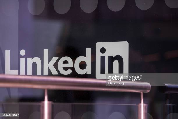 A logo sits on the window of the LinkedIn Corp European headquarters in Dublin Ireland on Wednesday June 6 2018 Companies are expanding in Dublin...