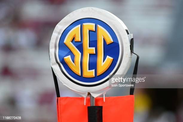 Logo sits on top the first down yard marker during the game between the Alabama Crimson Tide and the South Carolina Gamecocks on September 14, 2019...