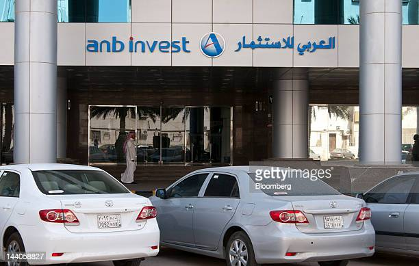 A logo sits outside the entrance to the offices of ANB Invest or Arab National Investment Company in Riyadh Saudi Arabia on Tuesday May 8 2012 Saudi...