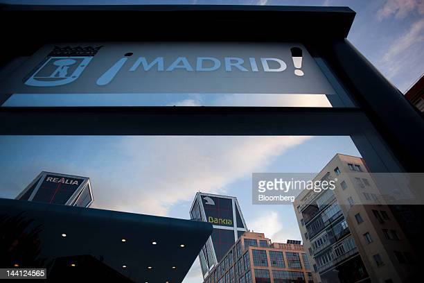 A logo sits outside the headquarters of Bankia SA center in Madrid Spain on Wednesday May 9 2012 Spain said it would take over Bankia SA and prepared...