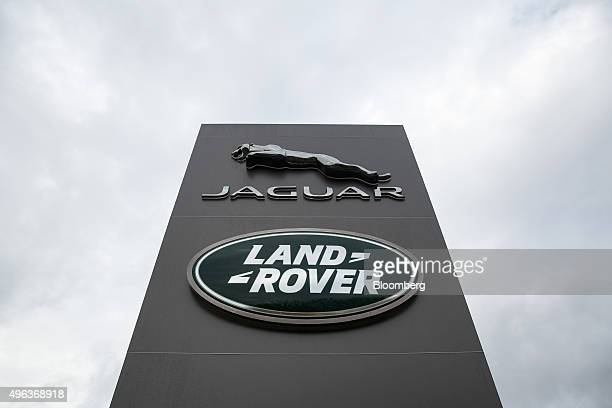 A logo sits outside the Tata Motors Ltd's Jaguar Land Rover vehicle manufacturing plant in Solihull UK on Friday Nov 6 2015 Jaguar Land Rover is...