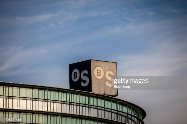 A logo stands on the roof of the Banco de Sabadell SA headquarters in Barcelona Spain on Thursday March 5 2020 Spanish bank shares soared after the...