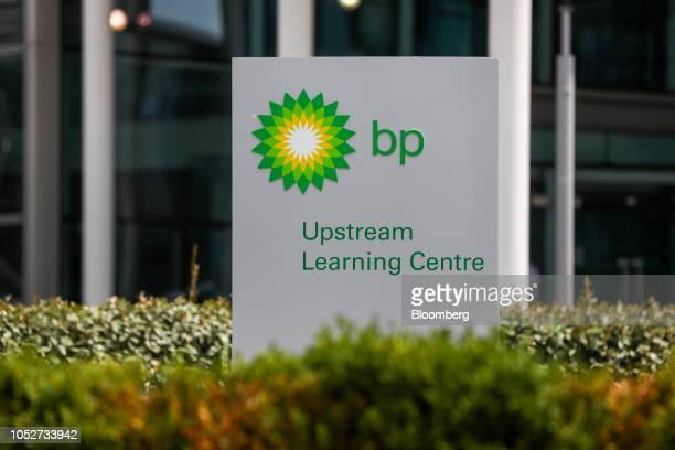 A logo stands outside the BP Plc research centre in Sunbury on Thames UK on Thursday Jul 19 2018 Bernard Looney BP's upstream chief executive officer...