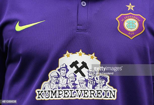 Logo / Symbol on the Shirt during the official team presentation of Erzgebirge Aue at ground 2 on July 14 2015 in Aue Germany