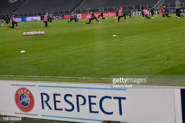 UEFA logo that says Respect during of training session ahead of the UEFA Champions League Group G stage match between Ferencvaros Budapest and...