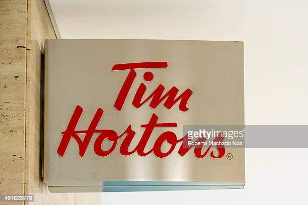 Logo Tim Hortons on the wall Tim Hortons Inc is a Canadian multinational fast casual restaurant known for its coffee and doughnuts