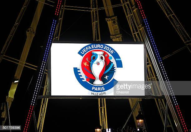 A logo 'UEFA EURO 2016' is displayed on the Ferris wheel at 'Place de la Concorde' during Christmas illuminations on December 17 2015 in Paris France...