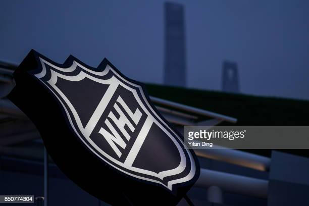 NHL logo was showed outside of MercedesBenz Arena prior to a preseason National Hockey League game between the Vancouver Canucks and the LA Kings at...
