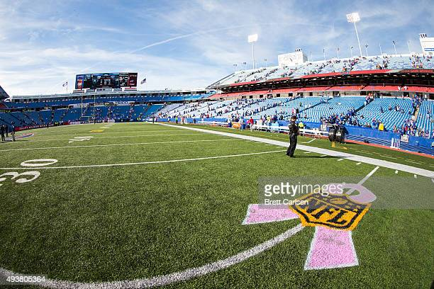 NFL logo with a Pink Ribbon beneath to honor breast cancer awareness month after the game between the Buffalo Bills and the New York Giants on...
