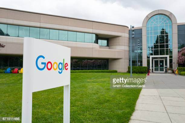 Logo with signage in front of Building 44, which houses employees working on the Android mobile phone operating system, at the Googleplex,...