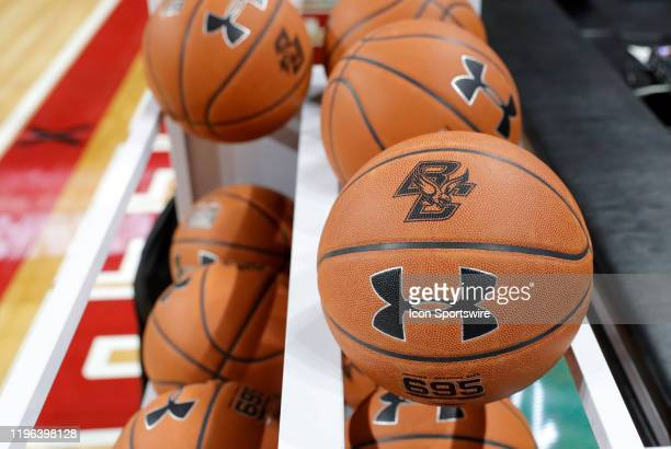 BC logoed basketball on the rack before a game between the Boston College Eagles and the Virginia Tech Hokies on January 25 at Conte Forum in...