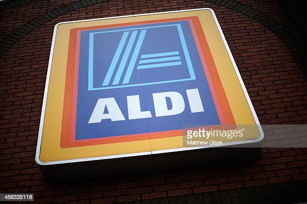 Logos adorn an Aldi supermarket near Thamesmead on September 29 2014 in London England Aldi has reported a 65% increase in profits and is planning to...