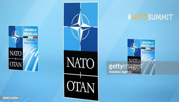 Logos and banners are seen ahead of the NATO Summit in Brussels, Belgium on July 11, 2018.