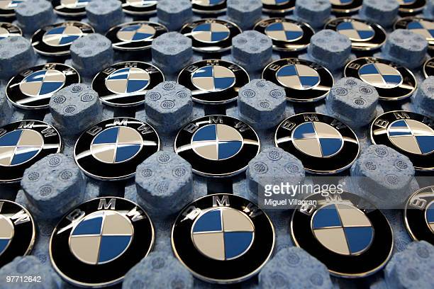 BMW logos are pictured in a tray on on the BMW 3series production line at the BMW factory on March 15 2010 in Munich Germany The German car maker...