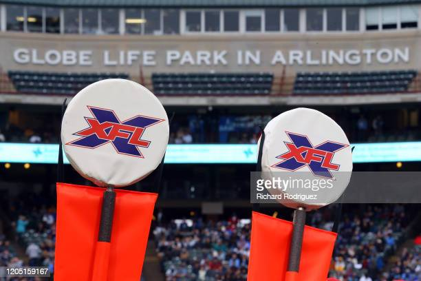 XFL logos are shown on down markers during the XFL football game between the St Louis Battlehawks and the Dallas Renegades at Globe Life Park on...