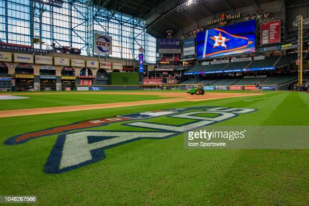 ALDS logos displayed on the field prior to game 1 of the ALDS between the Houston Astros and the Cleveland Indians on October 05 at Minute Maid Park...