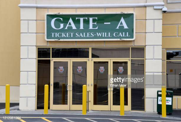 Logos for the Western Athletic Conference basketball tournament are shown on doors leading to the Orleans Arena on March 12 2020 in Las Vegas Nevada...