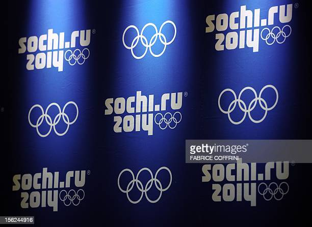 Logos of Sochi 2014 are seen during a press conference of the International Olympic Committee coordination commission closing a threeday visit at...