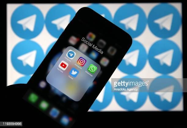 Logos of Telegram, Instagram, WhatsApp, YouTube and Twitter are seen in Ankara, Turkey on January 12, 2020.