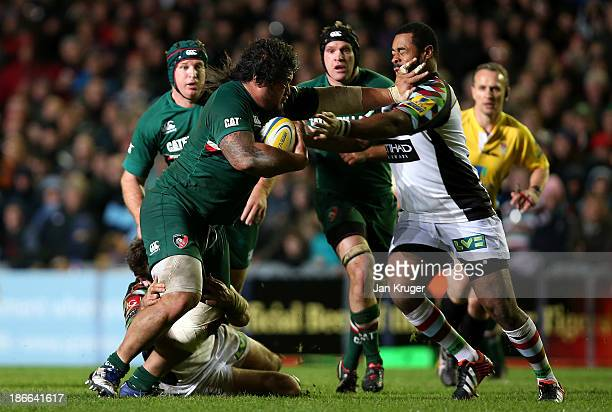 Logovii Mulipola of Leicester Tigers holds of Darryl Marfo of Leicester Tigers during the Aviva Premiership match between Leicester Tigers and...