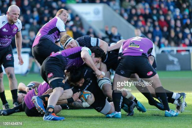 Logovi'I Mulipola of Newcastle Falcons is tackled near the line during the Greene King IPA Championship match between Newcastle Falcons and Cornish...