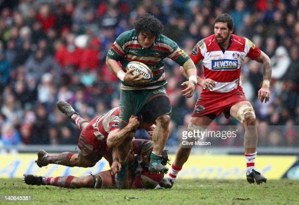 Logoviii Mulipola of Leicester Tigers in action during the Aviva Premiership match between Leicester Tigers and Gloucester at Welford Road on March 4...