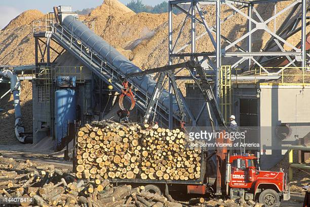 Logs being lifted from a truck into the milling process at a Boise Cascade paper mill in Rumford Maine