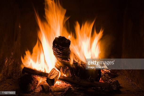 logs burning in open fire - warming up stock pictures, royalty-free photos & images