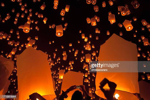 loi krathong mass lantern launch - chiang mai province stock photos and pictures