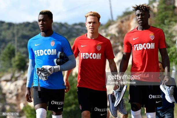 Loic Badiashile Irvin Cardona and Kevin Ndoram of Monaco during training session of As Monaco on June 30 2017 in Monaco Monaco
