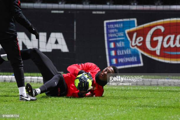 Loic Badiashile of Monaco warm up during the Ligue 1 match between Angers SCO and AS Monaco at Stade Raymond Kopa on February 10 2018 in Angers