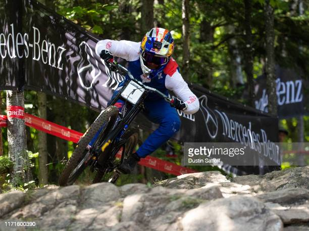 Loic Bruni of France during a training run before the Men's Downhill final at the UCI Mountain Bike World Championships at MontSainteAnne on...