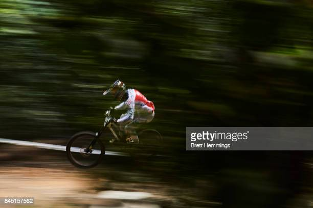 Loic Bruni of France practices in the Elite Mens Downhill Championship during the 2017 Mountain Bike World Championships on September 10 2017 in...