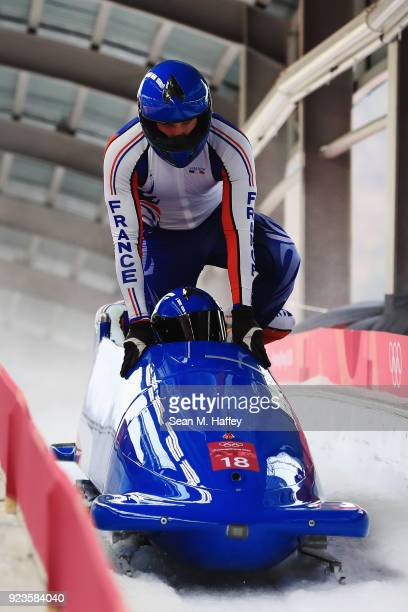 Loic Costerg, Vincent Ricard, Vincent Castell and Dorian Hauterville of France react in the finish area during 4-man Bobsleigh Heats on day fifteen...