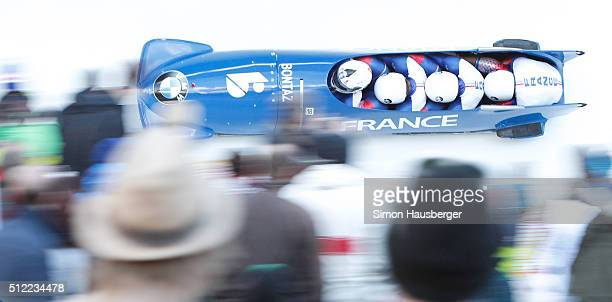 Loic Costerg Yannis Pujar Vincent Castell and Jeremie Boutherin from France in action during the Men's FourMan Bobsleigh at Day 7 of the IBSF World...