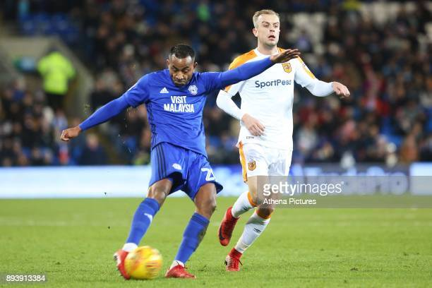 Loic Damour of Cardiff City has a shot on goal during the Sky Bet Championship match between Cardiff City and Hull City at the Cardiff City Stadium...