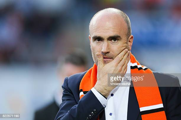 Loic Fery president of Lorient during the semifinal French Cup between Lorient and Paris SaintGermain at Stade du Moustoir on April 19 2016 in...
