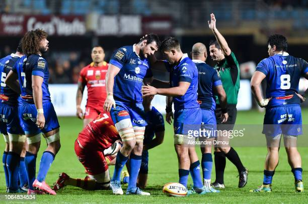 Loic Jacquet and Baptiste Delaporte of Castres celebrate during the Top 14 match between Perpignan and Castres at Stade Aime Giral on November 24...