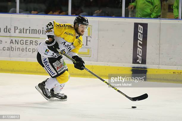 Loic Lamperrier of Rouen during the Ice hockey Ligue Magnus Final second game between Les Ducs d'Angers v Les Dragons de Rouen on March 23 2016 in...