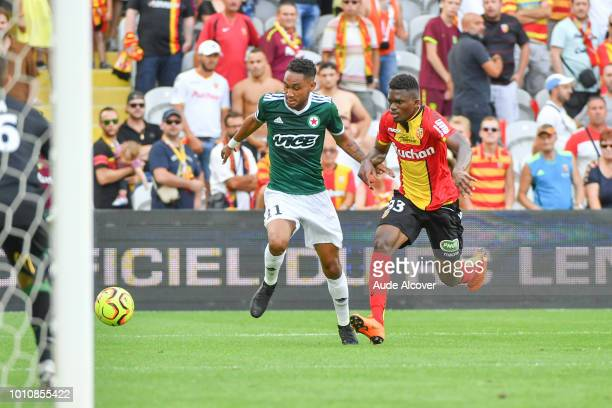 Loic Lapoussin of Red Star and Cheick Oumar Doucoure during the Ligue 2 match between Lens and Red Star at Stade BollaertDelelis on August 4 2018 in...