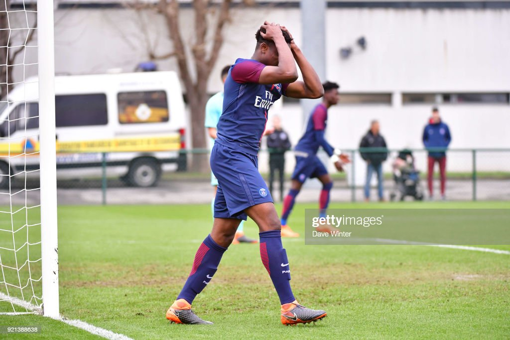 Loic Mbe Soh of PSG heads wide during the UEFA Youth League match (round of 16) between Paris Saint Germain (PSG) and FC Barcelona, on February 20, 2018 in Saint Germain en Laye, France.