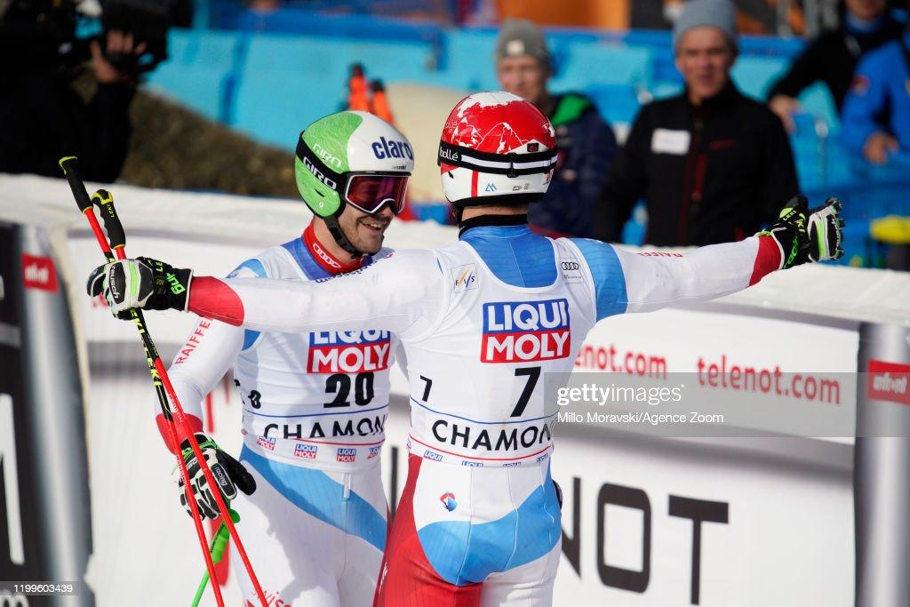 Loic Meillard Of Switzerland Celebrates With Thomas Tumler Of News Photo Getty Images