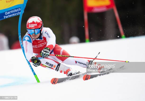 Loic Meillard of Switzerland competes during run 1 of the Audi FIS alpine ski world cup men's giant slalom on February 2, 2020 in...
