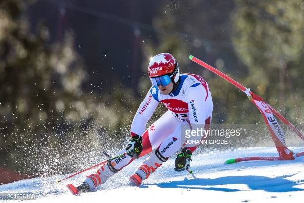 Loic Meillard of Switzerland competes during the first run of the men's giant slalom of the FIS Ski World Cup in Hinterstoder Austria on March 2 2020...