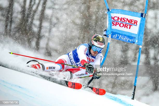 Loic Meillard of Switzerland during the Audi FIS Alpine Ski World Cup Men's Giant Slalom on December 8, 2018 in Val d'Isère France.