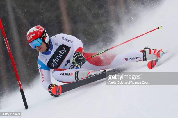 Loic Meillard of Switzerland in action during the Audi FIS Alpine Ski World Cup Men's Giant Slalom on December 8 2019 in Beaver Creek USA