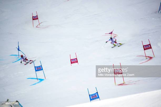 Loic Meillard of Switzerland in action, Thomas Tumler of Switzerland in action during the Audi FIS Alpine Ski World Cup Men's Parallel Giant Slalom...
