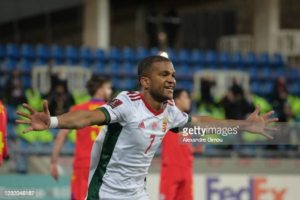 Loic NEGO of Hungary celebrates his scoring during the World Cup Qualifying 2022 match between Andorra and Hungary at Estadi Nacional on March 31,...