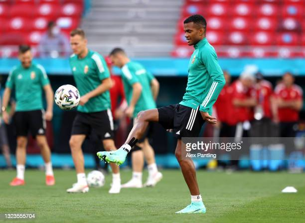 Loic Nego warms up during the Hungary Training Session ahead of the Euro 2020 Group F match between Hungary and Portugal at Puskas Arena on June 14,...